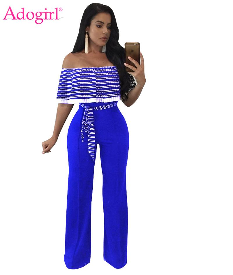 cdcedc0f837 2019 Adogirl Striped Pleated Ruffle Off Shoulder Loose Jumpsuits Plus Size  Women Sexy Strapless Wide Leg Pants Casual Rompers Overall From  Qualityclothes