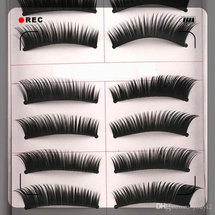Moda kalın yanlış eyelashes 10 çiftleri yanlış kirpik popüler sahne güzellik yanlış eyelashes el yapımı doğal uzun çapraz aracı