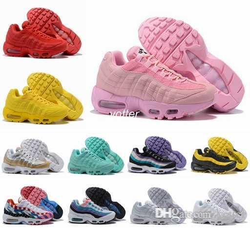huge discount ed533 6f5e2 95 X Foot Locker 2018 Running Shoes For Women Piet Parra x Red Yellow Pink  Frequency Special Edition Corduroy 95 95s Sports Sneakers