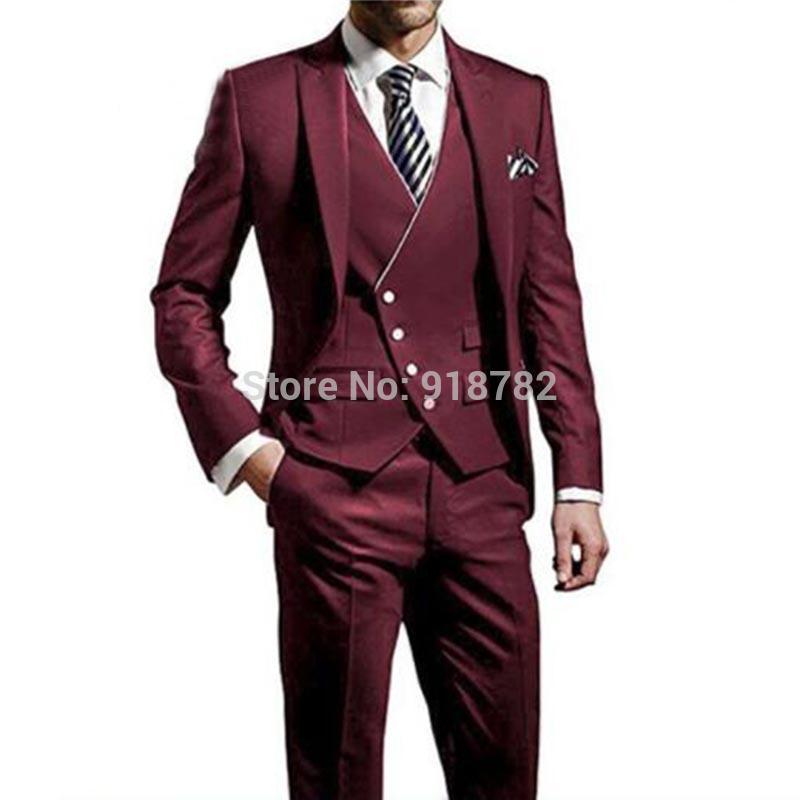 Acheter Costumes De Mariage Pour Hommes 2018 Bordeaux Bleu Blanc 3 Pièces  Ensemble Hommes Costume Avec Pantalon Slim Fit Le Meilleur Homme Costumes  Groom ... dc61ae4c306