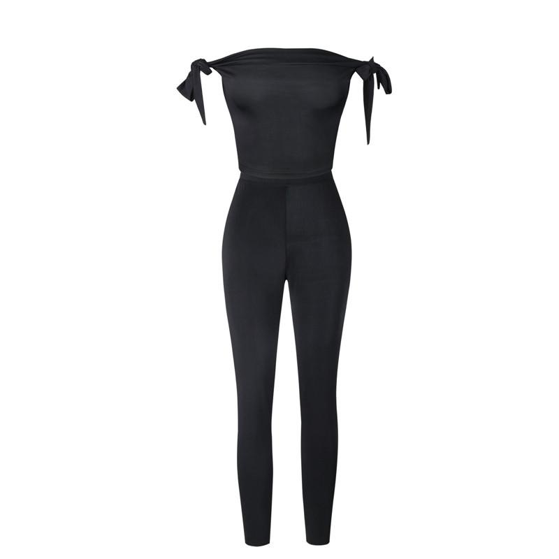 98d14af2b82 2019 Trendy Women Clothes Ladies Black Solid Off Shoulder Jumpsuit  Polyester Sleeveless Casual Rompers One Pieces From Xiayuhe