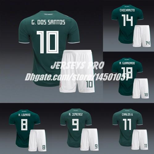 6e2e4c1fb 2019 Soccer Uniforms Camiseta Mexico Copa Mundial 2018 World Cup Jersey Home  Andres Guardado Hirving Lozano Dos Santos Hector Herrera Carlos Vela From  ...