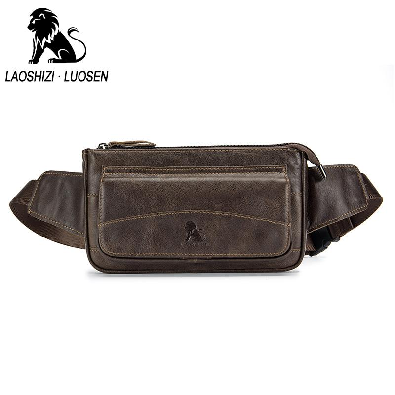 5e397b48d190 LAOSHIZI LUOSEN 2018 Men Genuine Leather Cowhide Vintage Travel Mobile Phone  Hip Bum Belt Pouch Fanny Pack Waist Purse Bag Satchel Bags For Women Waist  Bags ...