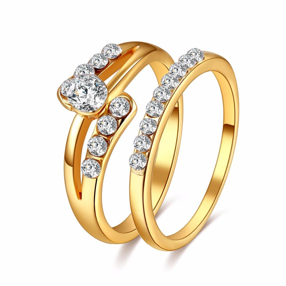 CACANA Wedding Ring For Lovers Gold Color Zircon Couple Rings Set ...
