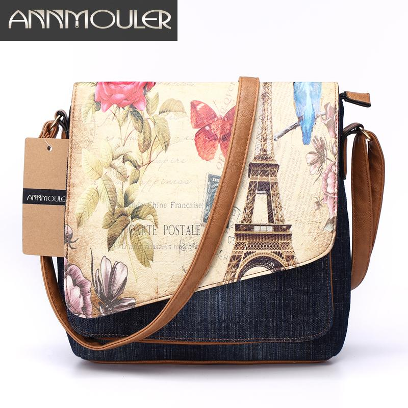 8326a95d15d Annmouler Vintage Shoulder Bag Women S Fashion Demin Crossbody Bag Eiffel  Tower Print Messenger Bag For Ladies Casual Tote Bags D18101303 Black Bags  ...