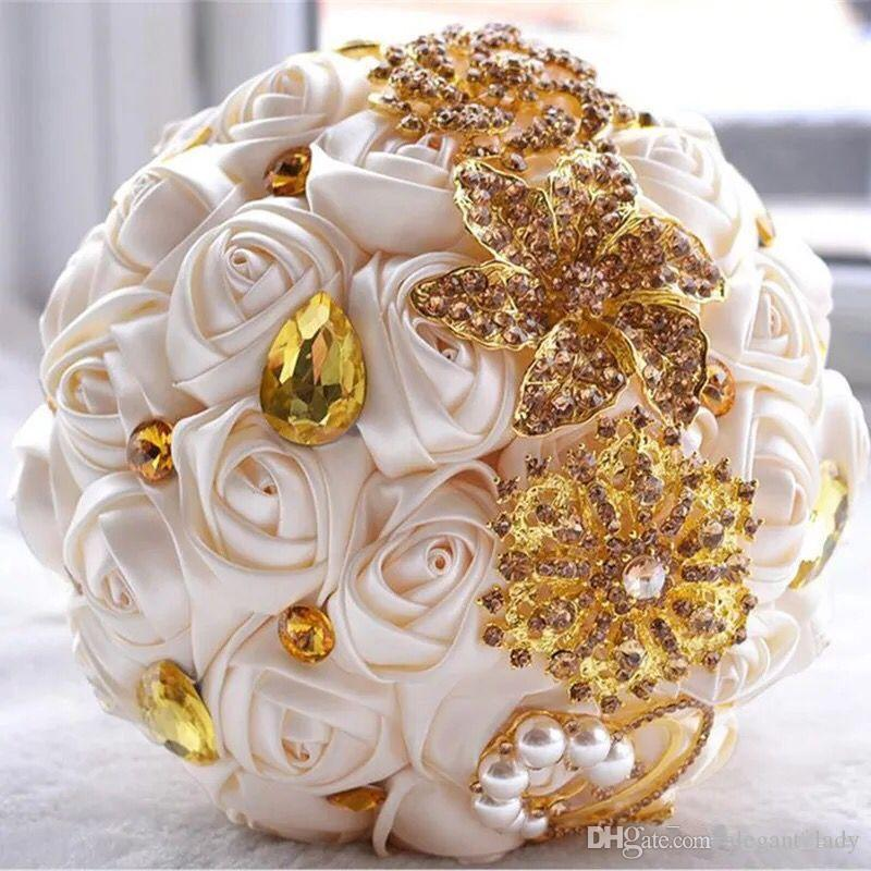 Gorgeous wedding bridal bouquets ivory gold shiny flowers Artificial Wedding Bouquet new crystal sparkle bouquet of bride