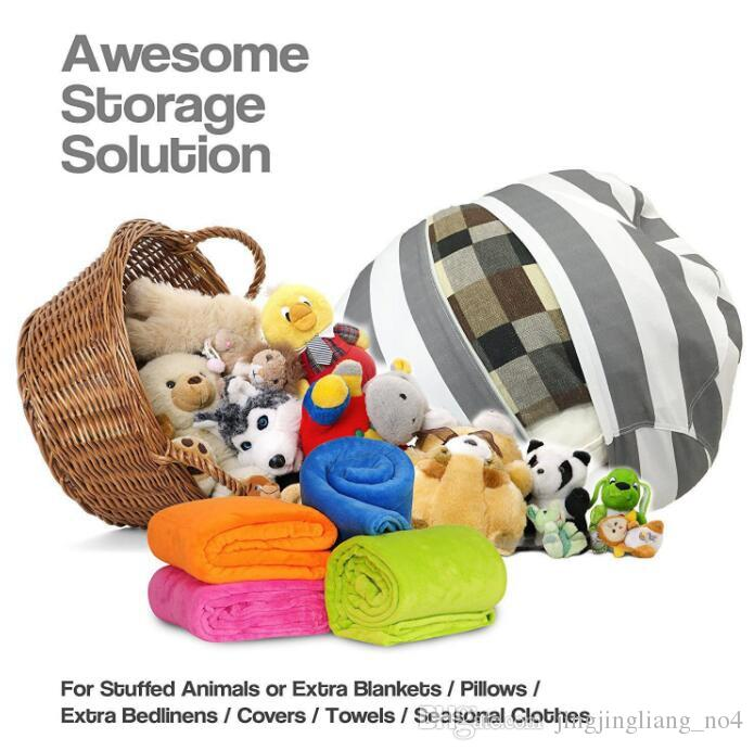24 inch Modern Storage Stuffed Animal Storage Bean Bag Chair Portable Kids Toy Storage Bag Play Mat Organizer Tool 43 design KKA3656