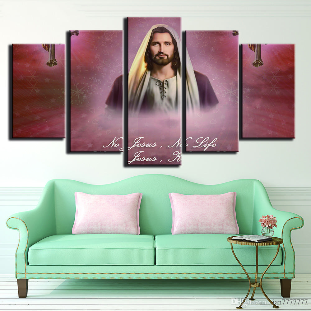 HD Print Jesus Oil Painting On Canvas Unframed 5 Pieces Wall Art Modular Picture For Home Church Decor Room Poster Artwork