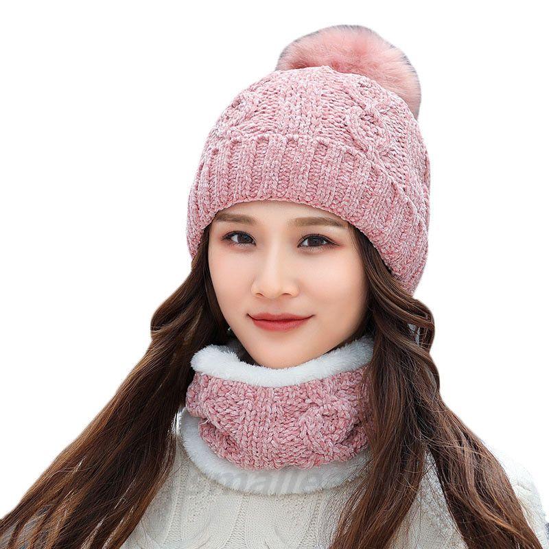 Compre 2018 Sombreros De Invierno Para Mujer Gorros Sombrero De Invierno  Gorro Grueso Bufanda De Lana Femenina Conjunto De Máscaras Gorras Bonnet  Señora De ... 23b91c8c2a6