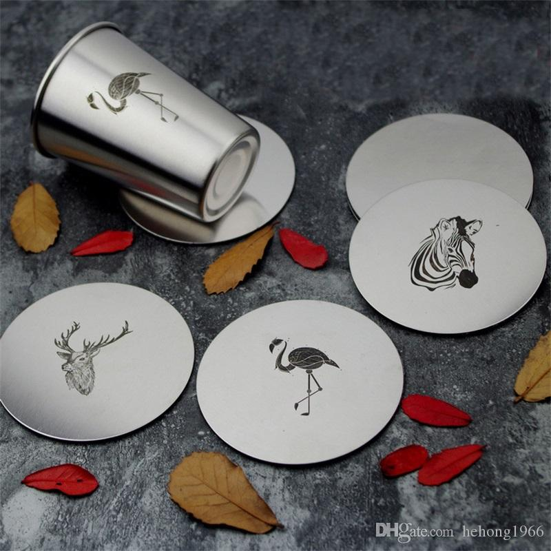 Flamingo Elk Stainless Steel Round Coffee Cup Coasters Metal Insulated Heat Mat Literary Style Acking Table Decoration Hot Sale 5zx Z