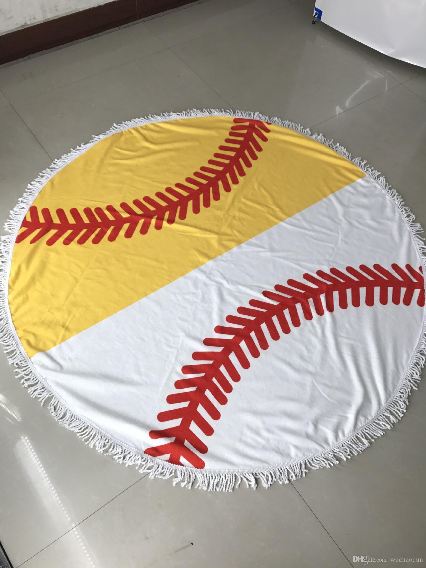 HOT sell diameter 150cm Baseball Softball Tapestry Beach Towel Round blanket with Tassel Beach Throw round Sports Yoga Blanket