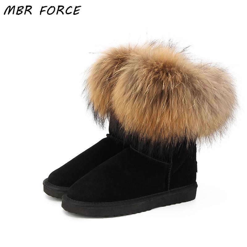 700a953ff57f Acheter MBR FORCE Mode Femmes Naturel Vrai Fourrure De Renard Bottes De  Neige 100% Véritable Cuir De Vachette Femmes Bottes Bottes Femme Bottes  D hiver ...
