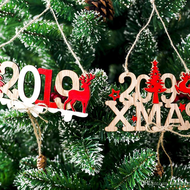 2019 Xmas Wooden Door Acce Christmas Ornament Pattern Santi Claude Wedding Party Decoration Home Decor Festival Favor Grafts