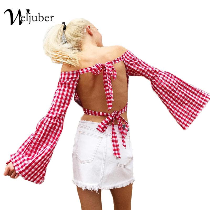 fa7efb1871a00 2019 Weljuber Women Off Shoulder Blouse 2018 Summer Backless Beach Blouse  Flare Sleeve Sexy Women Plaid Tops And Ladies Shirt From Yzlwatchfine