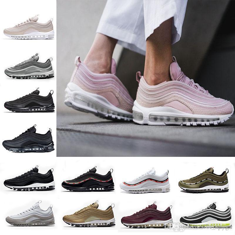 1729bc894460 With Box 97 Shoes Og Triple White Running Shoes OG Metallic Gold Silver  Bullet Pink Mens Trainer Women Sports Sneakers Running Shoes 97 97 Shoes  Online with ...