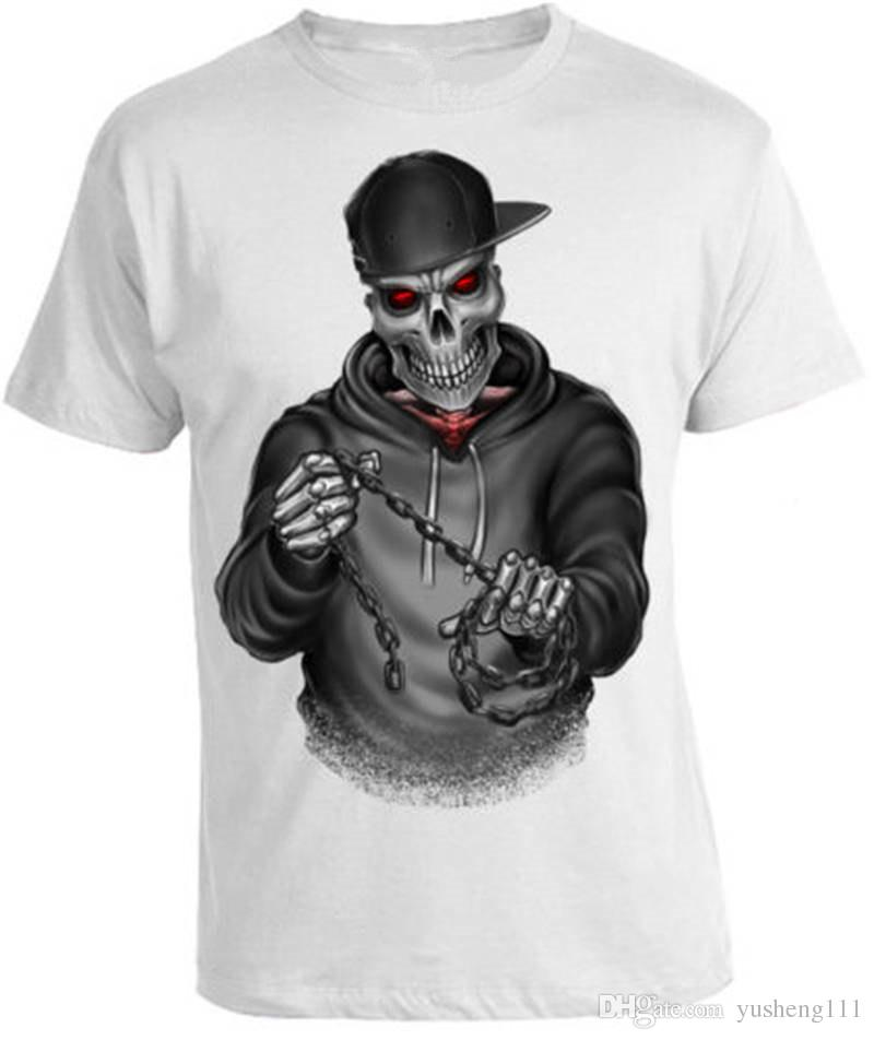 3db224df1ce490 Cool Tee Shirts Skelett Biker Crew Neck Men Short Sleeve Office Tee Coolest  Tee Shirts Cool T Shirts Design From Yusheng111