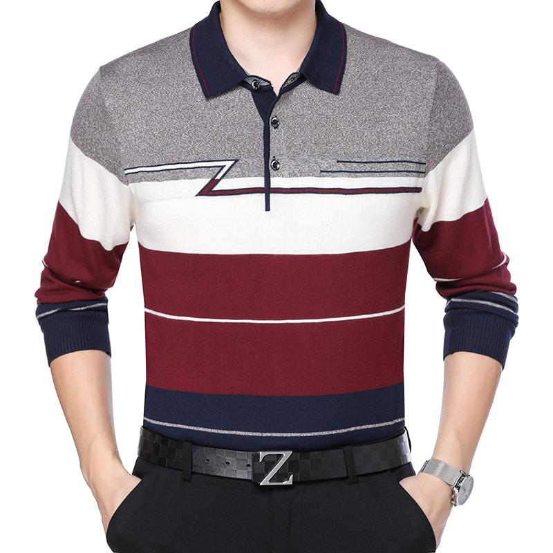 New autumn male hit color striped knit shirt turn-down collar mens patchwork colors sweater jumper free shipping