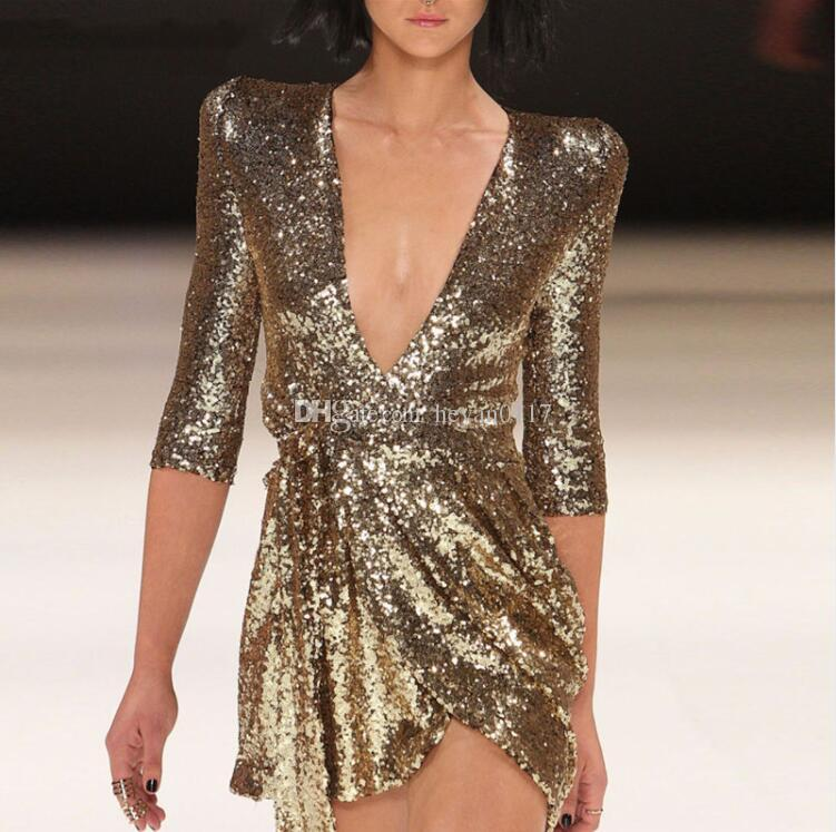 e813a3328e9ef Acheter 2018 Mode Nouveau Robe De Paillettes Pour Femmes Or Et Noir Mini  Robes Profond Col En V Demi Manches Vestidos De  12.25 Du Heyan0117
