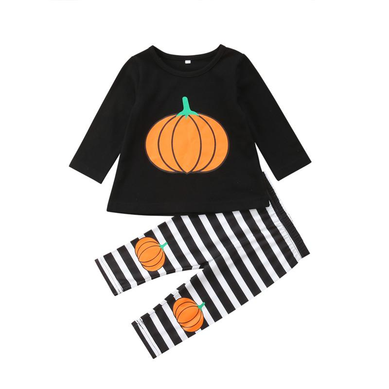 2340f7a6c Emmababy Halloween Girls Outfits Kids Girls Clothes Pumpkin Printed Long  Sleeve Tops Stripe Pants Leggings Children's Clothes