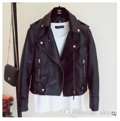 9a11aad3c4e Female 2018 New Design Spring Autumn PU Leather Jacket Faux Soft Leather  Coat Slim Black Rivet Zipper Motorcycle Pink Jackets Online with   33.54 Piece on ...