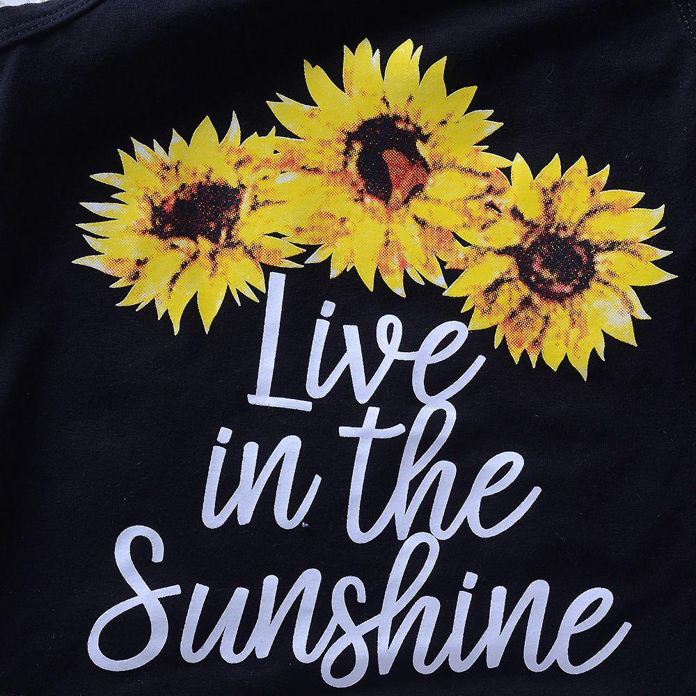 2018 Ins Summer Girls ropa conjuntos trajes girasol carta Tank + denim mini Shorts establece al por mayor