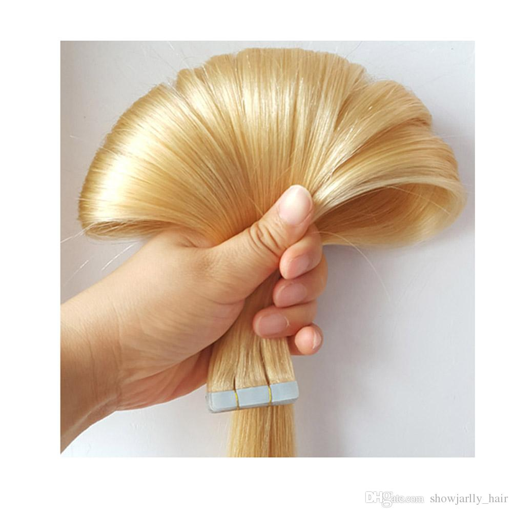 Double Sided Invisible Tape In Hair Extensions Blonde Color 613