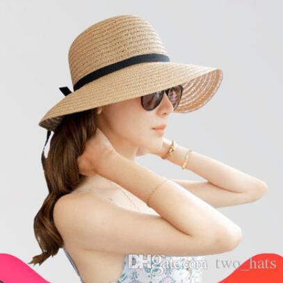 5b33f2bf2b6 2019 Women S Straw Sun Hats Bowknot Solid Wide Brim Floppy Hats For  Travelling Foldable Sun Protection Casual Hats For Summer From Two hats