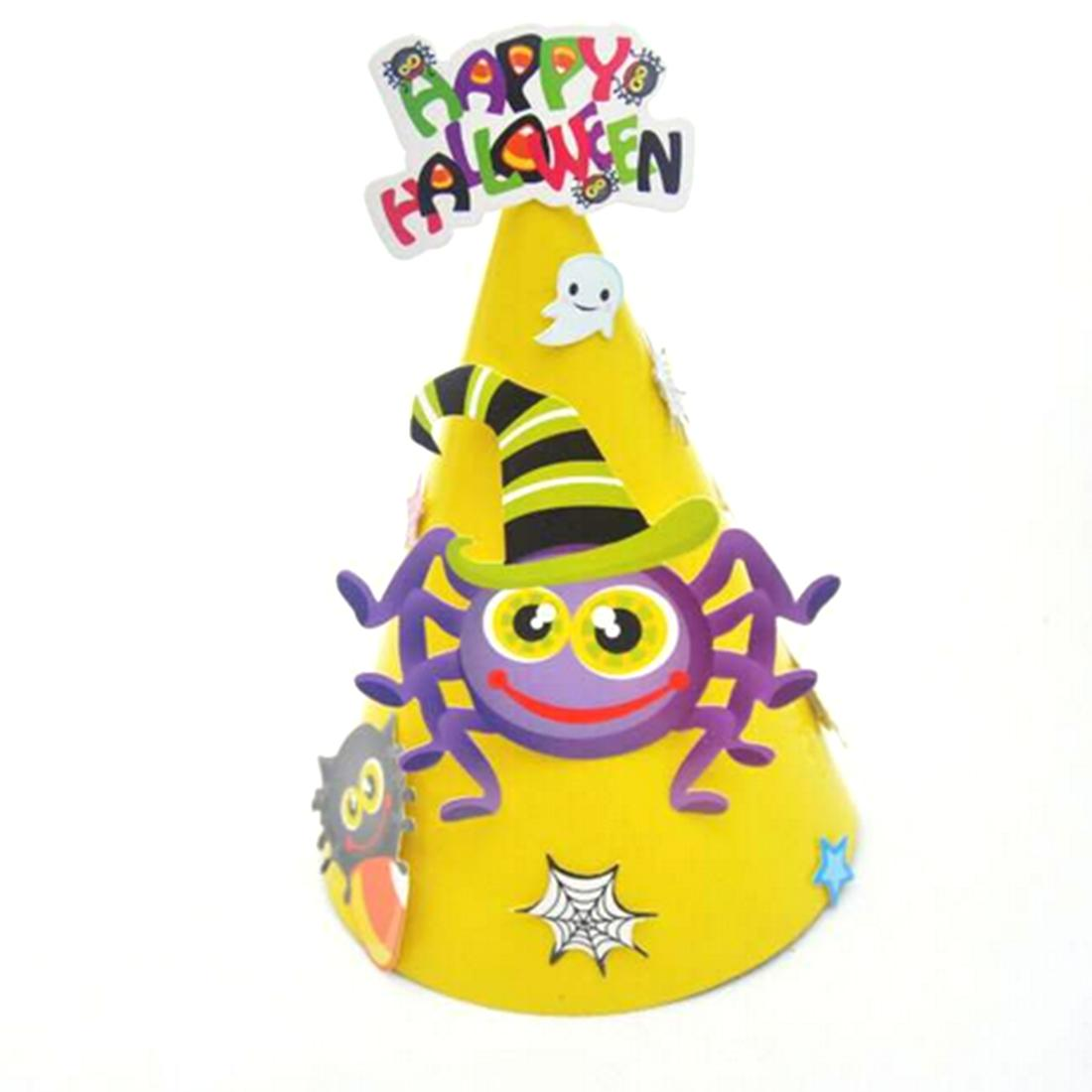 Cute Halloween Cartoon Pattern Hat Kids Paper Coned Toy Festival Decor Party Decoration Spider Pumpkin Diy Birthday Hats First