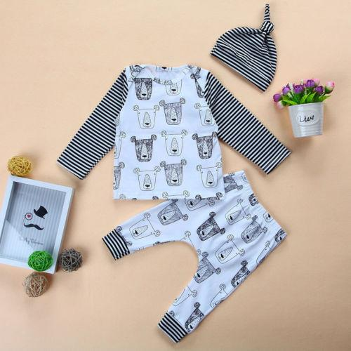 US Stock Newborn Baby Girls Boys Long Sleeves Clothes Tops+Pants Hat Outfits Set