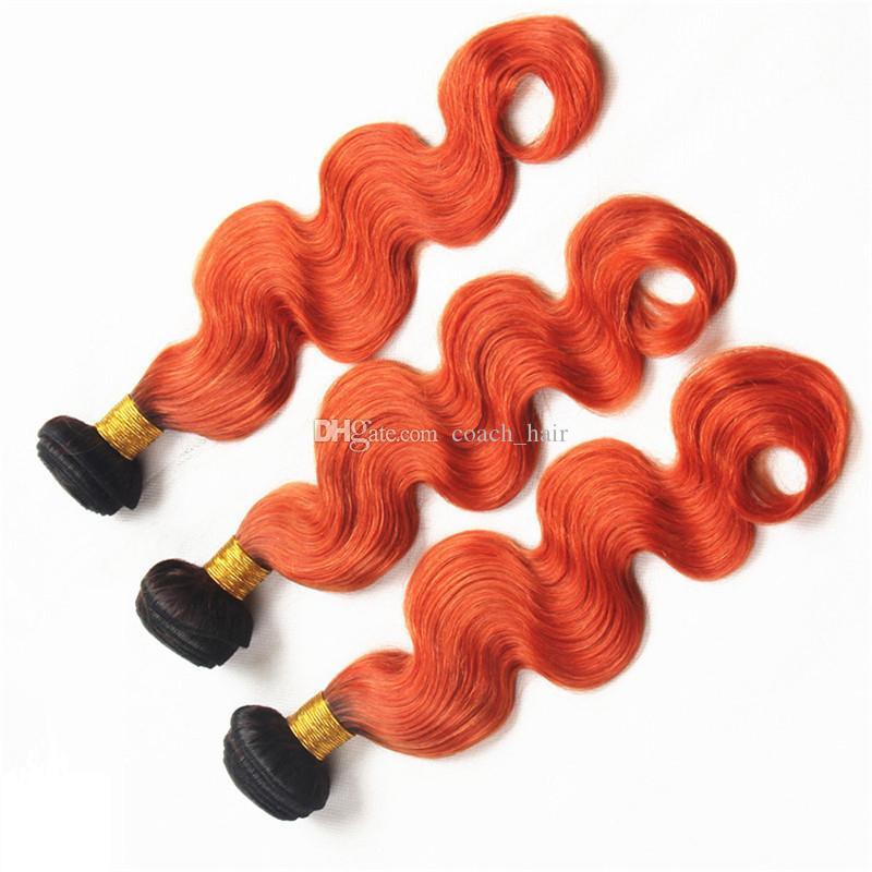 Extensões de cabelo humano Ombre laranja indiano preto raízes 1B Orange dois tons onda do corpo Ombre virgem cabelo tece tramas duplas de máquina