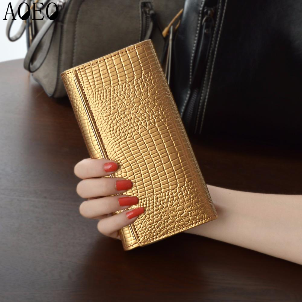 AOEO Hand Holdings Women Wallets Long Design With Phone Pocket Black Gold Ladies Lock Coin Purse Luxury Wallet Female