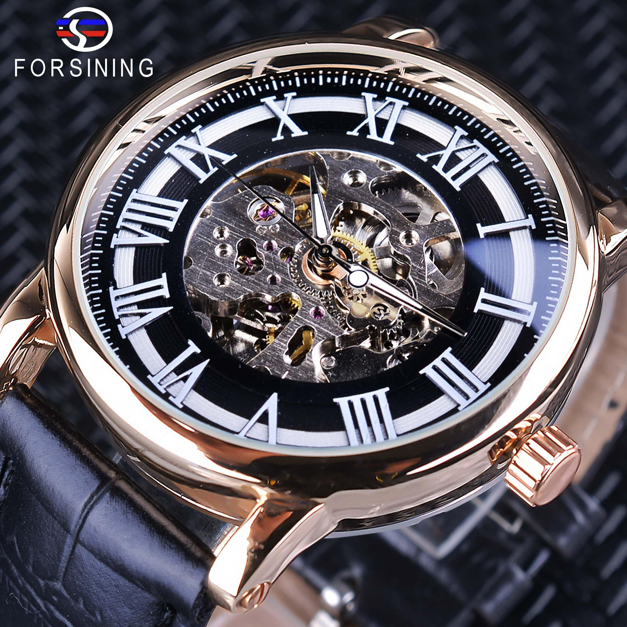154d6bb2d3c Compre Forsining 2018 Relógios Automáticos Dos Homens Romanos Retro Top  Marca De Luxo Esqueleto Preto Luminoso Relógio De Pulso Relógio Masculino  Relógio ...