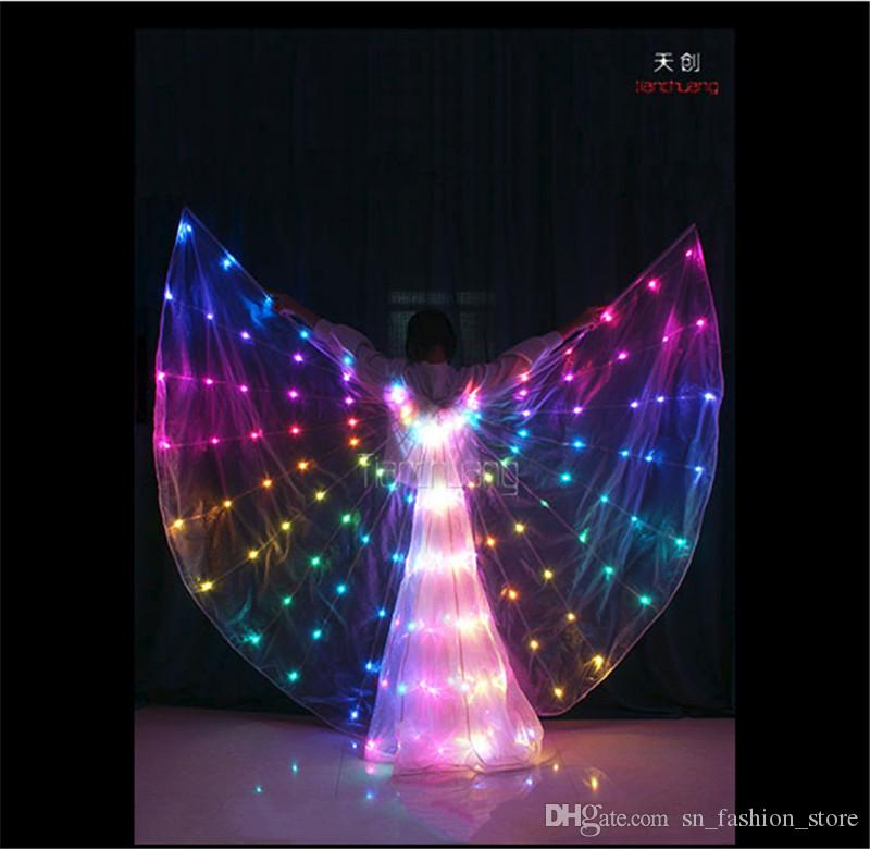 TC-160 Programming design led costumes ballroom dance RGB led wings model cloth party dancer singer stage wears luminous cloak performance