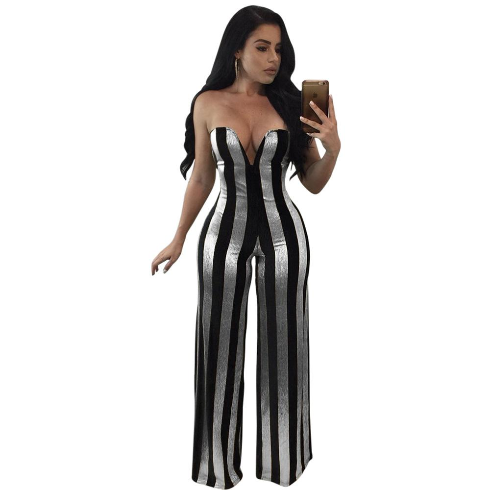 SexeMara Strapless Gold Balck Strip Jumpsuit 2018 Fashion Backless Romper Glitter Sexy Outfits for Women Club Wear D35-AB65