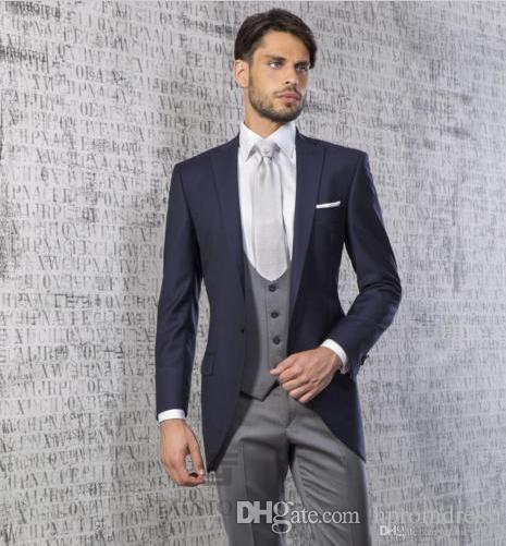 ab10838bdf912 Custom Made Gray men wedding dress 2018 Tuxedo Groom Formal Suit Mens 3  pieces (jacket vest pants) wedding man suit dresses