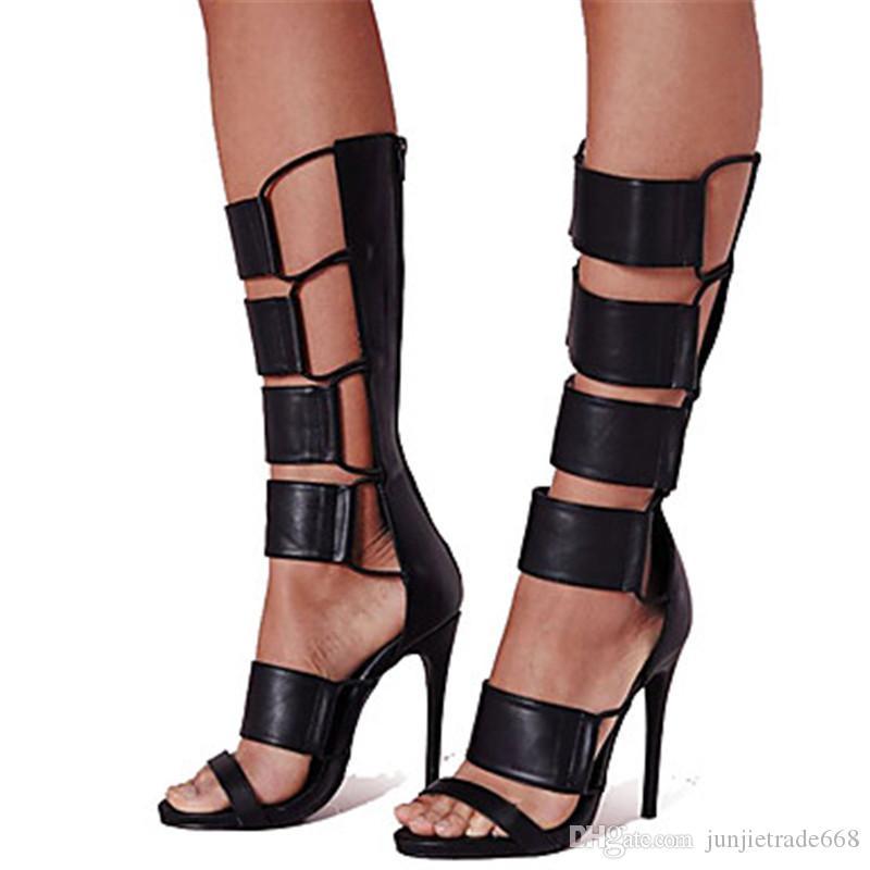 2018 Nueva lista de moda sandalias retro Roma botas huecas alta heei mujeres finas zapatos de banquete