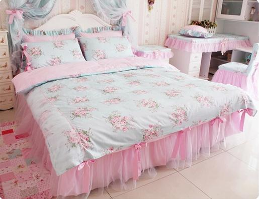 Blue Pink Floral Bedding Sets Korean Romantic Floral Print Bedding