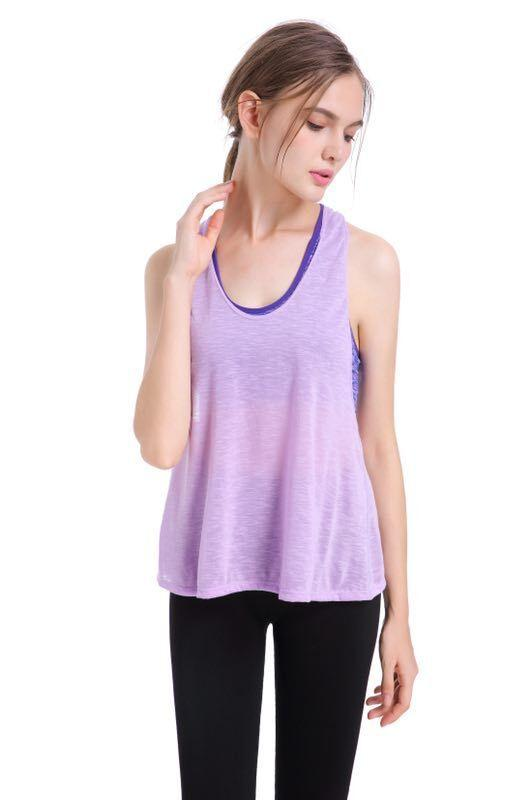 9a4f1ba1273d2 Women'S Sleeveless T-Shirt Yoga Top Loose Fit Mesh Racerback Workout Gym Tank  Top Sportwear Running Yoga Gym Two Fake Vests