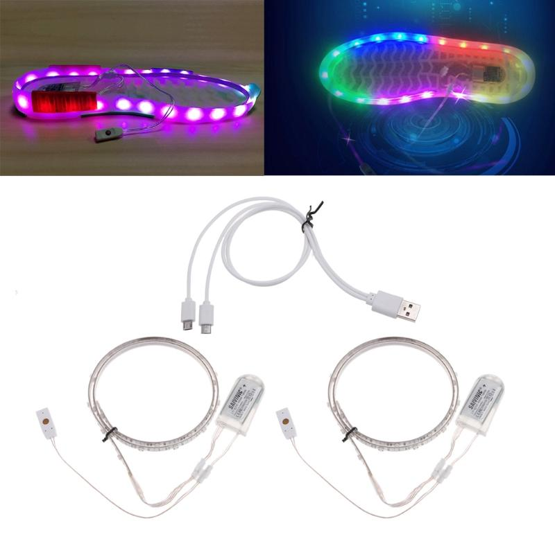 HNGCHOIGE Led Strip Light 1 Pair 65CMX2 RGB SMD3528 Waterproof Flexible LED Strip Lights USB Glowing Colored Lighting Shoe