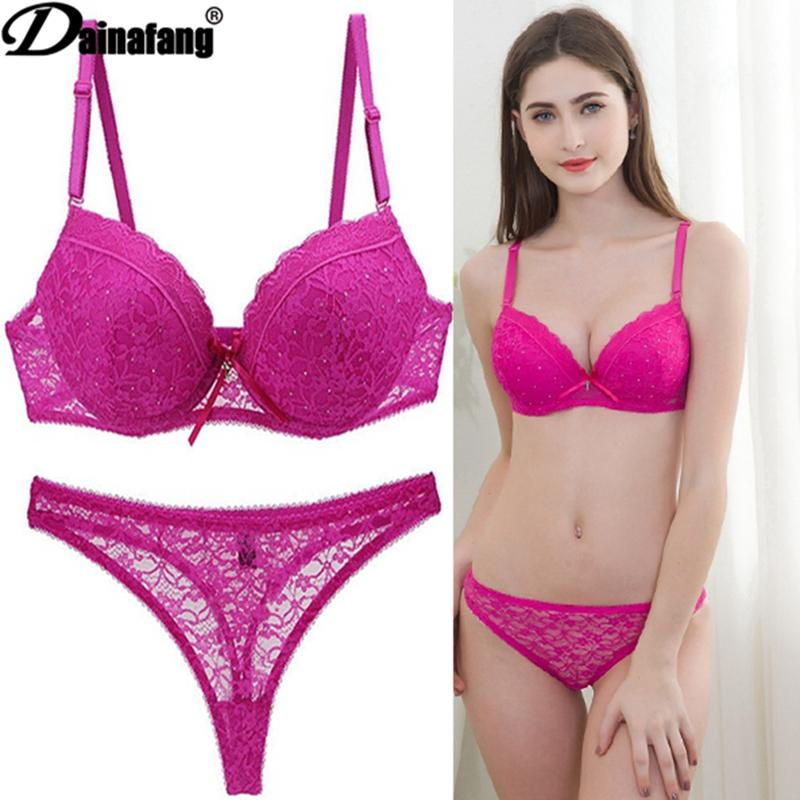 0da8db79c9 Novelty 2018 Lace Drill Bra Set Women Plus Size Push Up Underwear Set Bra  And For Female Sexy Thong 34 36 38 40 42 BCDE CUPS Set Bra Bra Set Bra Set  ...