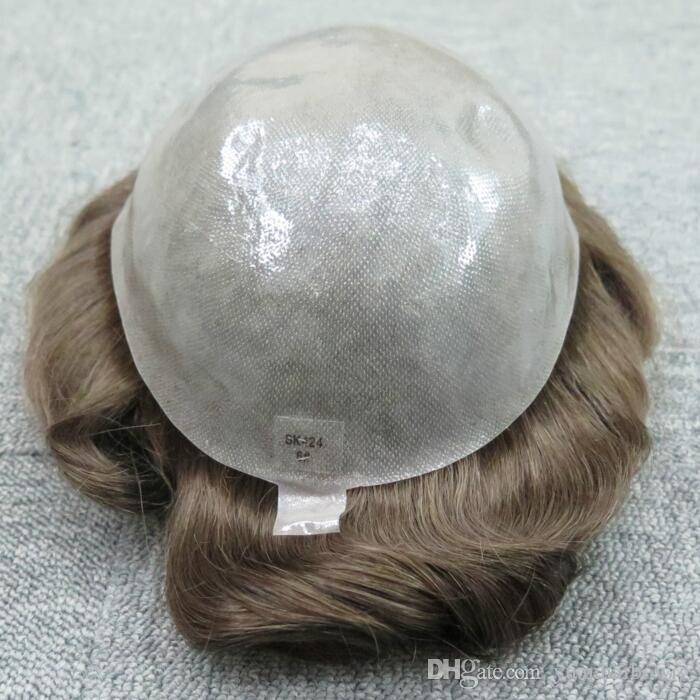 Q6 Men Toupee Black Color 32mm Wave Brazilian Human Hair Full PU Toupee Replacement for Men