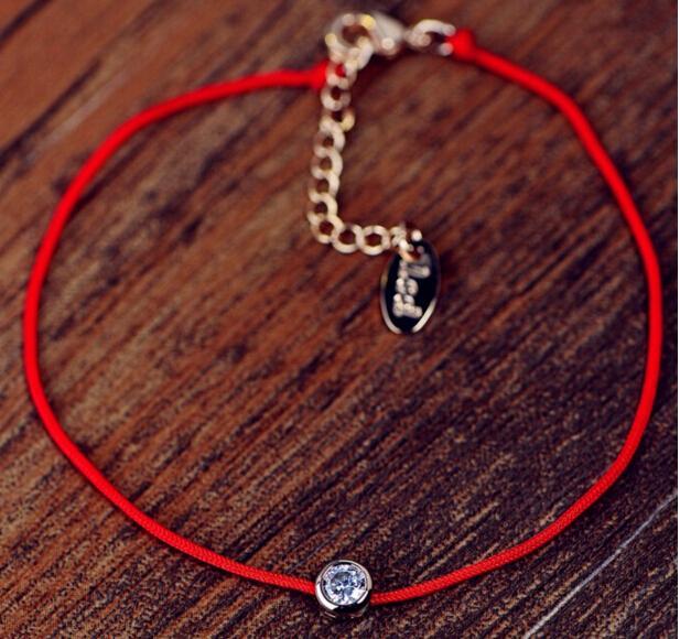 2016 or ronde bijou À la main simple ligne rouge de la mode ronde zircon cristal bracelets pour les femmes bien cadeau de mariage accessoire