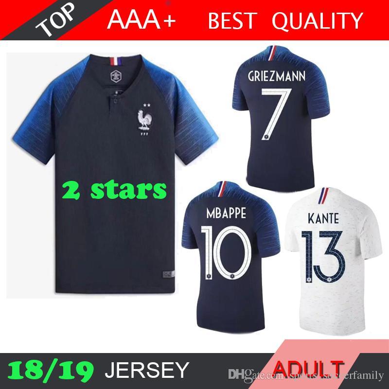 2 Stars MBAPPE GRIEZMANN Soccer Jersey 2018 World Cup POGBA GIROUD ... dd548ba7b