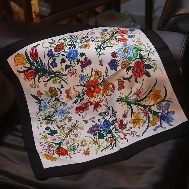 1cac33dcf3f Acheter 100% Soie Foulard Blanc Bandana Floral Femmes Foulard Imprimé  Papillon Carré Foulards Mode Bandeau Doux Écharpe De Bureau 55x55cm De   17.68 Du ...