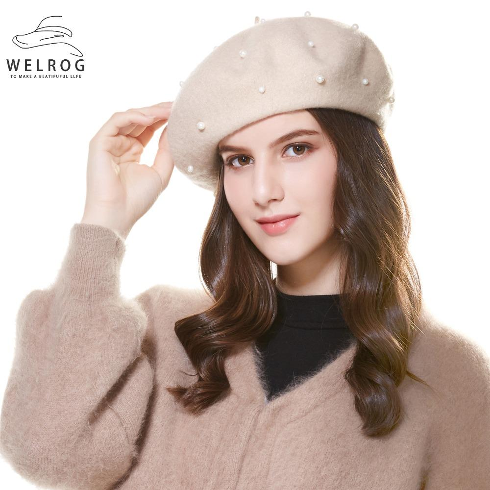 535ee4d3f1f5c WELROG Autumn Winter Women s Beret Hat Fashion Solid Pearl Warm Wool Berets  for Women French Artist Beanie Beret Hats Girls
