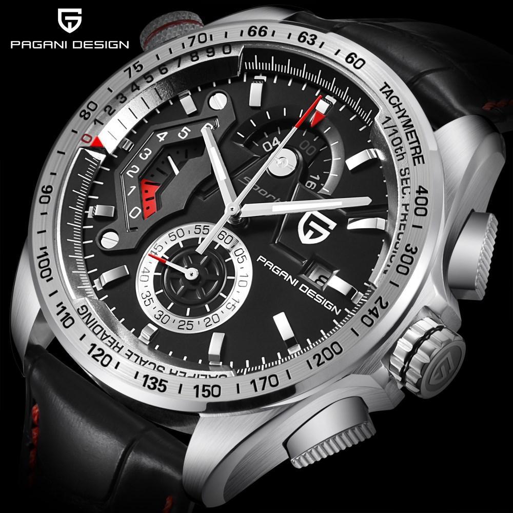 8fecd48019a Compre PAGANI DESIGN Marca De Luxo Cronógrafo Esporte Relógios Homens Reloj  Hombre À Prova D  Água Relógio De Quartzo De Couro Relógio Relogio Masculino  De ...
