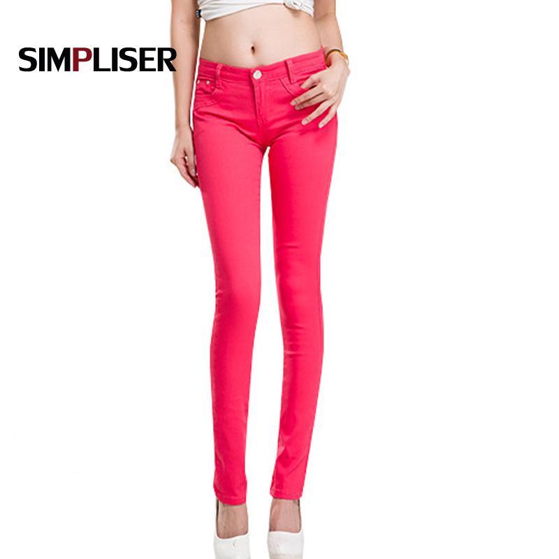 b6d4258bc Compre SIMPLISER Jeans Skinny Lápis Calças Mulheres 2018 Plus Size Fino  Jeans Leggings Branco Preto Vermelho Cáqui Feminino Calças De Trecho De  Cupidcloth, ...