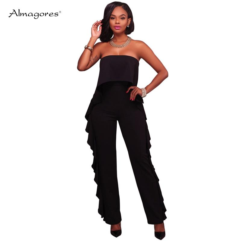 e44ae19694f 2019 Almagores Black White Ruffle Wide Leg Pant Party Women Jumpsuit 2018  Summer Slash Neck High Waist Elegant Women Rompers Overalls From Stripe