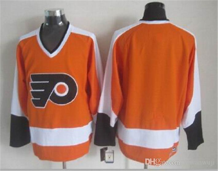 CCM neueste Männer genäht Philadelphia Flyers Blank # 1 PARENT / # 7 BARBER / # 8 SCHULTZ / # 16 CLARKE Weiß Schwarz Orange CCM Ice Hockey Jerseys