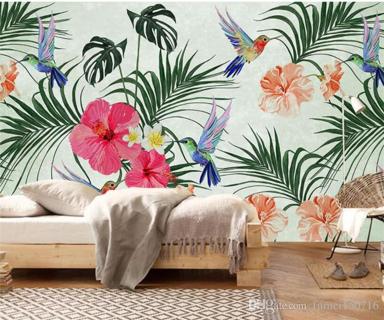 custom photo wallpapers hand painted watercolor tropical leaves